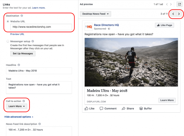 facebook ad preview and editor