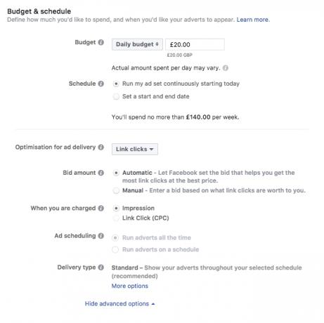 facebook ads set budget