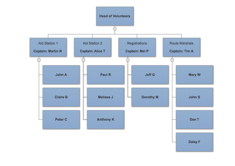 sample race volunteer org chart