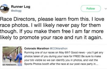 runner tweet free race photos