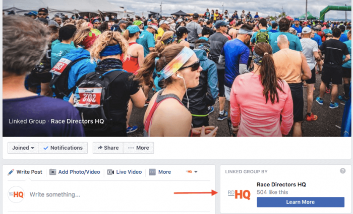 link group to facebook race page