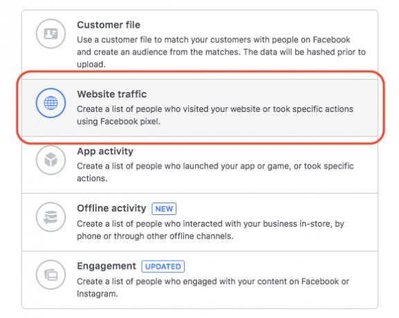 Facebook remarketing choose custom audience screen