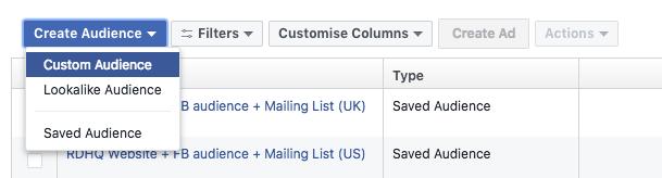 Facebook remarketing create custom audience screen