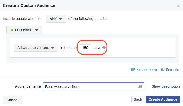 Facebook remarketing custom audience setup screen