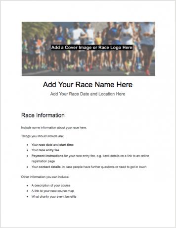 5k registration form - Paper template - page 1