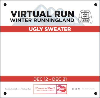 RocknRoll ugly sweater virtual run custom bib